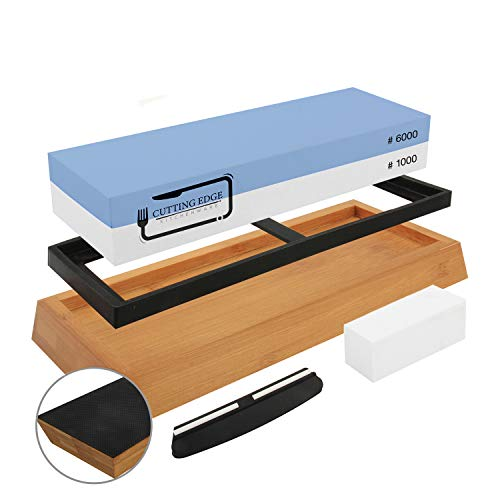Cutting Edge Whetstones Knife Sharpening Stone 2 Side Grit 1000/6000 Waterstone | Chef knives Sharpener Stones Dual Sided Non Slip Bamboo Base | Angle Guide Flattening Water Stone for Home Kitchen