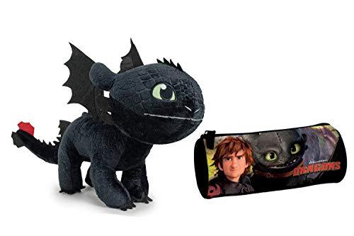 HTTYD Dragons, como Entrenar a tu dragón - Pack Peluche Desdentao Toothless Furia Nocturna 11'81