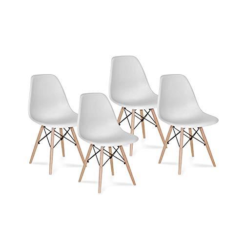 CAMBIA TUS MUEBLES Zmień swoje meble – zestaw z 4 krzesłami, krzesłami do jadalni, styl skandynawski, biały z drewnianymi nogami