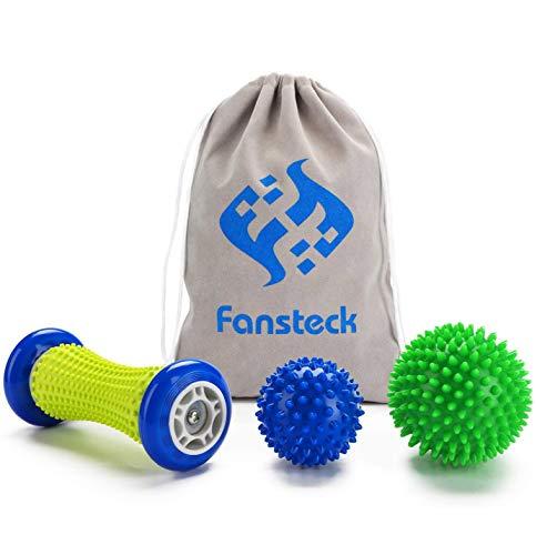 Fußmassageroller Set und Massagebälle für Plantarfasziitis, Fansteck Faszienball Roller & Bälle, Schmerzlinderung für Hacken & Fußgewölbe, Stressreduzierung und Entspannung durch Triggerpunkt-Therapie