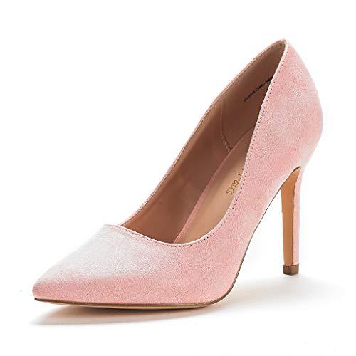 DREAM PAIRS Zapatos de Tacón Alto Pump para Mujer Rosa Ante 41 EU/10 US