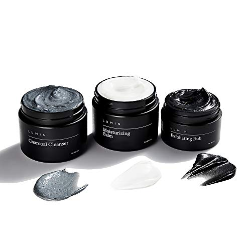 The Classic Maintenance Collection for Men(Dry Skin): 3 Piece Kit to Cleanse, Hydrate, and Renew Your Skin - Includes Moisturizing Balm, Exfoliating Rub, and Charcoal Cleanser - By Lumin