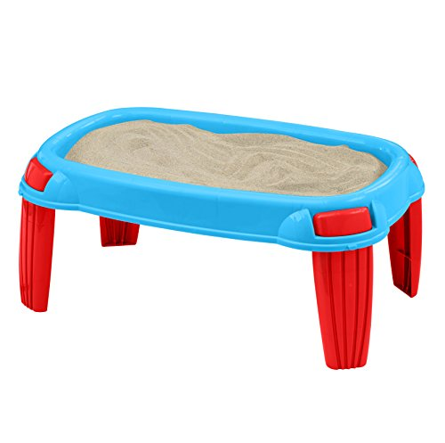 American Plastic Toys Kids' Outdoor Sand Table, Backyard Sand Designs, Molds, and Castles, Sand Stays Dry with Waterproof Tarp Included, Safe BPA-Free Plastic, for Ages 18 Months+, beige (16300)
