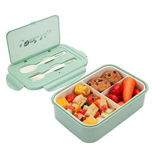 1400 ml Boîte à Déjeuner en Plastique, Boîte à Repas Vert avec Trois Compartiments et des Couverts (Fourchette et cuillère), Boîte à Bento pour Enfants et Adultes