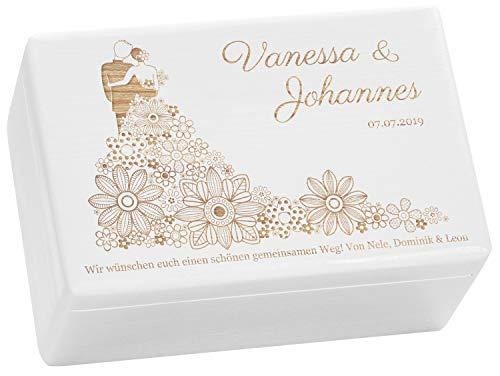 LAUBLUST Holzkiste zur Hochzeit - Blumenkleid - Geschenkkiste Personalisiert mit Gravur - ca. 30x20x14cm, Weiß, FSC®