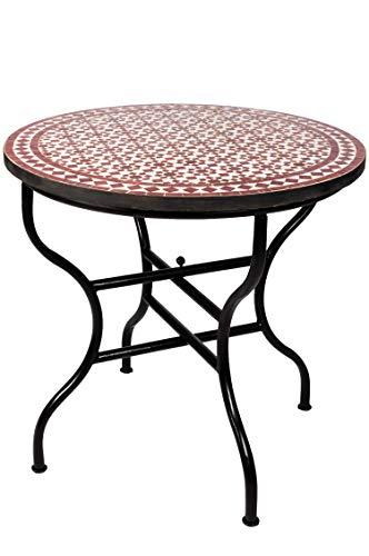 ORIGINAL Marokkanischer Mosaiktisch Gartentisch ø 100cm Groß rund klappbar | Runder klappbarer Mosaik Esstisch Mediterran | als Klapptisch für Balkon oder Garten | Albaicin Bordeaux Weiss 100cm