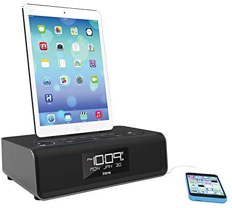 iHome iDL43B Dual Charging Stereo FM Clock Radio with Lightning Dock and USB Charge/Play - Black