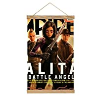Battle Angelぶら下げ写真 木製フォトフレーム フレーム ポスター い DIY アートワーク 写真、ポスター、絵画などに適用 縦飾り用 木製 角型(33cm)