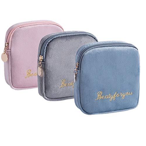 Flocking Stoff Aufbewahrungstasche Tragbar für Damenbinden,Make-up, Damenbinden, Geldmünzen, 3 Stück (A)