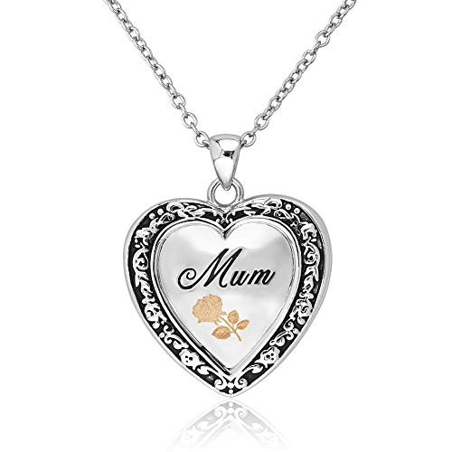 Uniqueen Mother's Gift Heart Mum Engraved Rose Flower I Love You Locket Pendant Necklace