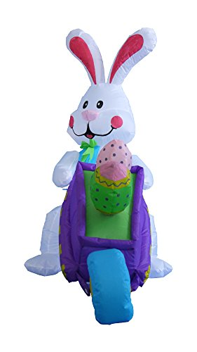 BZB Goods 4 Foot Inflatable Easter Bunny Pushing Wheelbarrow with Eggs Lighted LED Lights Outdoor Indoor Holiday Party Decorations Blow up Yard Lawn Inflatables Home Family Outside Decor