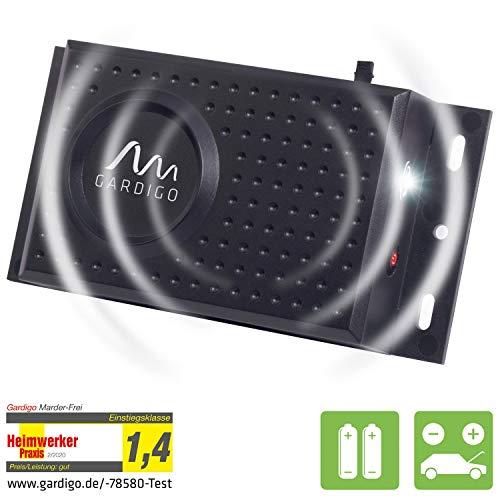Gardigo Marder-Frei Dual | Mobiler Marderschreck für Auto, Garage, Dachboden | Anschluss an Autobatterie oder Batteriebetrieb möglich | Marderabwehr mit Blitzlicht