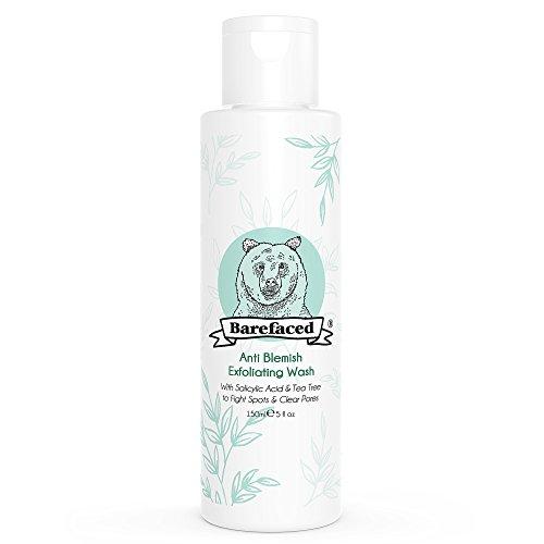 BeBarefaced Natural Anti Blemish Teebaum und Salicylsäure (BHA) Peeling-Gesichtswäsche - Vegan und Bio-Gesichts-Peeling für fettige und Mischhaut - Sanfte Anti Shine und Spot-Behandlung