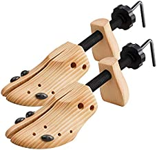 2 Way Cedar Shoe Trees Wooden Shoe Stretcher,Adjustable Large Size for Men and Women, Wood Shaper Set of 2 Stretches Length & Width,Woman's Size 10 to 13.5 Man's Size 9 to 13.