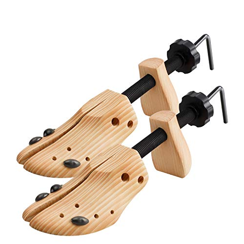 2 Way Cedar Shoe Trees Wooden Shoe Stretcher,Adjustable Large Size for Men and Women, Wood Shaper Set of 2 Stretches Length & Width,Woman