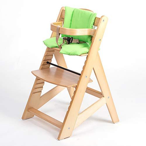 TIGGO Kinderhochstuhl mitwachsend - Treppenhochstuhl - Buchenholz - Babyhochstuhl - Hochstuhl ab 6 Monaten bis 10 Jahre 32112-03 natur/salbei grün