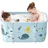 Bañera portátil, bañera plegable, bañera de plástico, bañera de hidromasaje extra grande, bañera móvil para adultos y niños de 120 cm, color azul