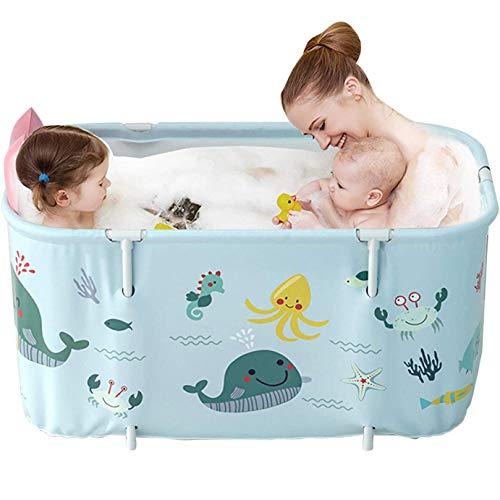 Tragbare Badewanne, Faltbadewanne, Badefass, Kunststoff, Badepool, extra große mobile Badewanne für Erwachsene und Kinder, 120 cm, Blau