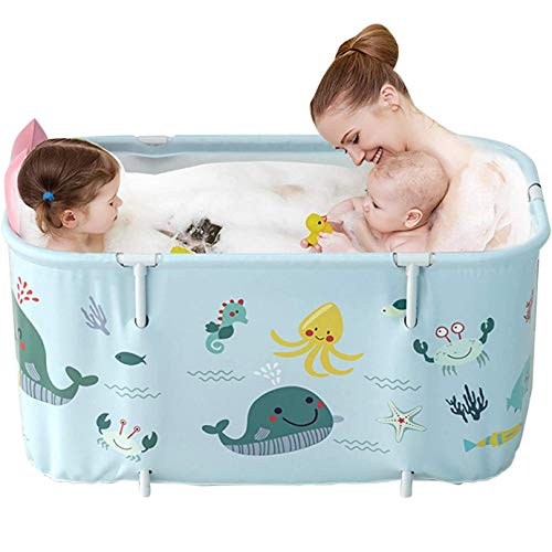Tragbare Badewanne, Faltbadewanne, Badfass Kunststoff SPA Badepool Extra Große Mobile Badewanne für Erwachsene Kinder 120cm, Blau