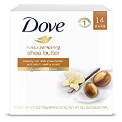 Dove shea butter beauty Bar: This rich body soap is made with Shea butter to moisturize dry skin - and it comes in a 14-pack for your convenience Scented with lush shea butter, It's an everyday way to pamper yourself - and more luxurious than a stand...