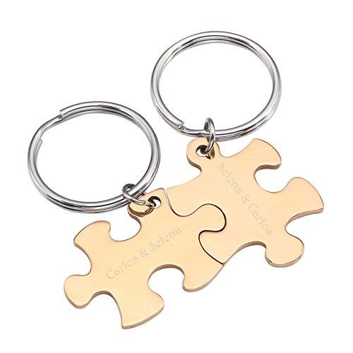 BOPREINA Personalized Gravur 2X Edelstahl 33*22mm Zwei Puzzle Schlüsselanhänger Partner Paare Liebe Freundschaft Schlüsselbund Schlüsselring Keychain (Rosegold, mit Gravur)