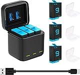 TELESIN Cargador Triple y Caja de Almacenamiento de batería con Cargador de 3 Canales con 2 baterías Recargables de Iones de Litio para GoPro Hero 10/9 Black (Cargador + 3 baterías)