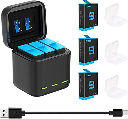TELESIN Dreifach-Ladegerät und Akku-Speicherbox mit 3 Kanälen Ladegerät mit 2 wiederaufladbaren Lithium-Ionen-Akkus für Gopro Hero 9 Black (Ladegerät + 3 Akkus)