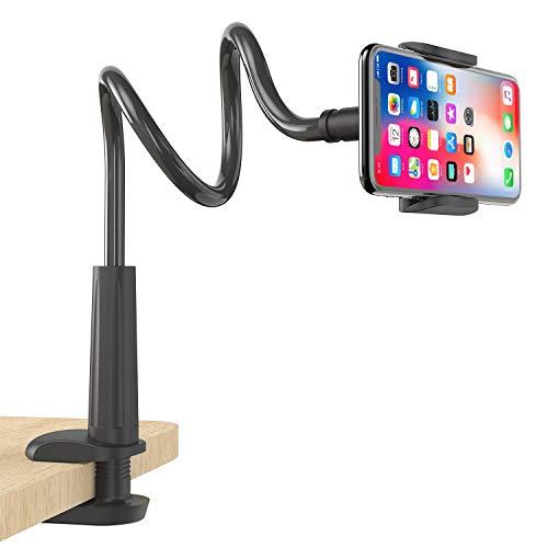 FAPPEN Lazy Handy Halter, Schwanenhals Handy Halterung : Universal Flexible Lang Arm Handy Ständer für Phone 11 Pro XS Max XR X 8 7 6 6s Plus, Samsung, und 4-6,5 Zoll Geräte - Schwarz