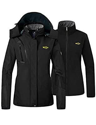 Wantdo Women's Insulated Ski Jacket with Removable Fleece Liner Black X-Large