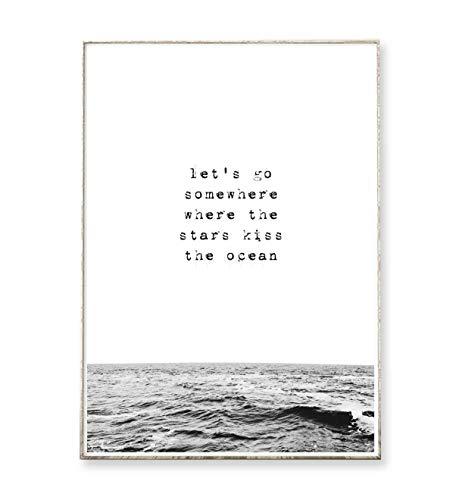 Kunstdruck Poster Bild STARS & OCEAN -ungerahmt- Spruch, vintage, Meer, Wellen, Ozean, Liebe
