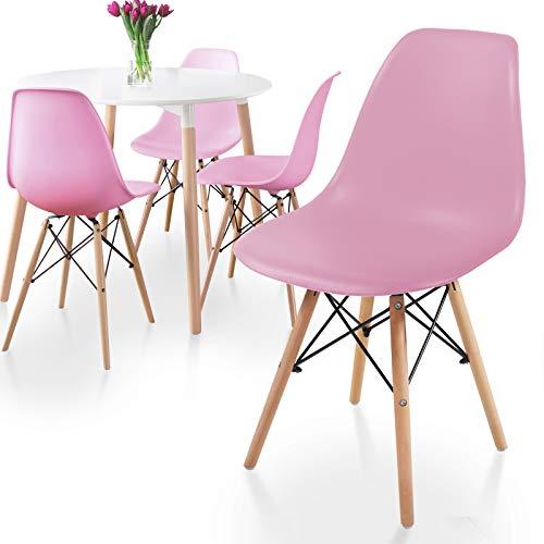MIADOMODO® Esszimmerstühle 2er 4er 6er 8er Set - Küchenstuhl im skandinavischen Stil aus Kunststoff, Metall & Massivholz, Farbwahl - Vintage, Retro Design, Wohnzimmerstühle, Lounge (4er, Rosa)