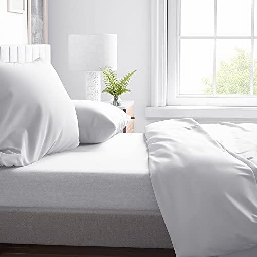 ROSE BELLA - Sábana Bajera Ajustable 100% algodón Franela, Ropa de Cama (Cama 90 | 90x200x25, Blanco)