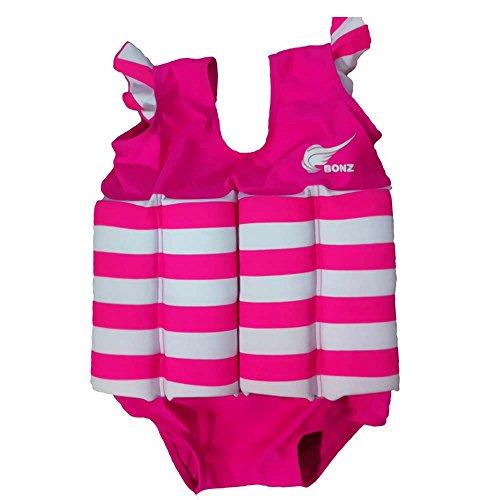 Gifts Treat Kinder-Schwimmanzug, Baby Junge Mädchen Sonnenschutz Schwimmend Bademode mit Regulierbarem Auftrieb, UPF 50+ (Rosen Streifen, S