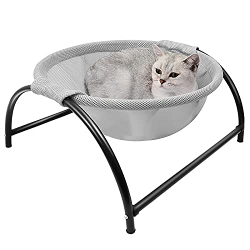 NOYAL Cat Hammock Bed, Elevated Pet Bed Breathable Hanging Nest with Detachable Cover and Heavy Duty Iron Frames Cat Cooling Cot for Kitty & Puppy Indoor and Outdoor Cat Hammock (Gray)