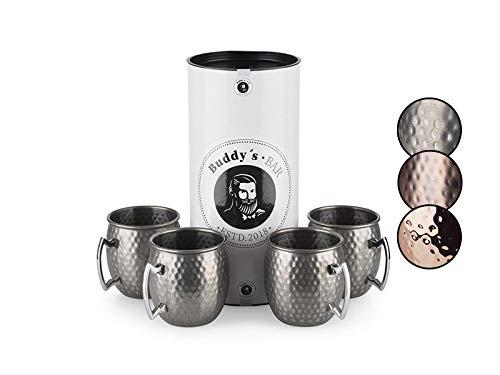 Buddy´s Bar - Moscow Mule Becher, 500 ml, hochwertiger Edelstahl-Becher, lebensmittelecht, Hammerschlag-Effekt, Cocktail-Tasse inkl. Geschenkbox, gehämmert, Edelstahl Antik, 4er Set