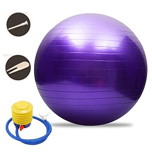 Yoga or Pilates Soft Exersoft Ball,Exer-Soft Ball,Exercise Ball, 55-85cm Gym Ball Supports 2200lbs, Anti-Burst & Extra Thick, Swiss Ball with Quick Pump, Pilates, Fitness (Purple, ø55cm)