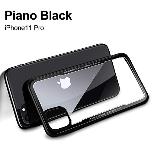 YOUNIKE iPhone 11 Pro Case 9H Tempered Glass with Soft TPU Frame Anti-Scratch Anti-Yellow Crystal Clear Back for iPhone 11 Pro 5.8-inch (HD Clear)