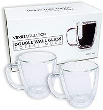 Double Wall Glass Espresso Latte Cappuccino Mug, Coffee Cup | Set of 2 (2, 16.0 oz)