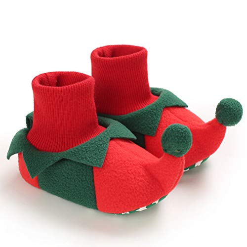 Oulian Baby Weihnachten Elf Schuhe, Säugling Kleinkind Winter Weiche warme Babyschuhe Slipper Stiefel aus Baumwolle Elf Kostüm Zubehör für Baby Mädchen oder Jungen (M, 12CM)