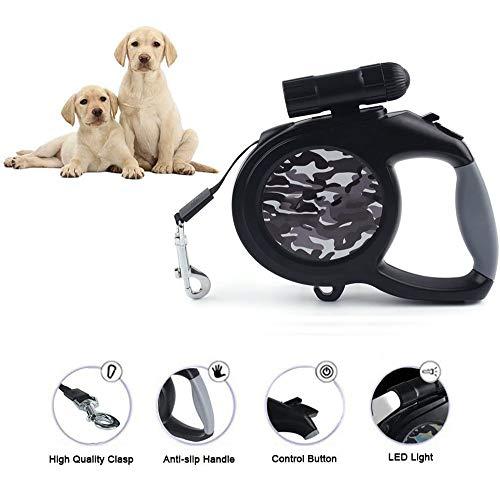 Intrekbare hondenriemen Uitschuifbaar voor middelgrote grote honden tot 50 kg, comfortabele ergonomische handgreep, knoopvrij, breek- en vergrendelsysteem met één knop, 9 LED afneembare zaklamp