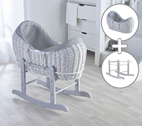 Grey Waffle White Wicker Noah Pod Moses Basket with Deluxe Grey Rocking Stand