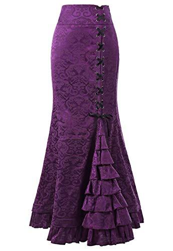 chouyatou Women's Retro Lace-Up Drawstring Tiered Ruffle Maxi Long Mermaid Pencil Skirt (Large, Purple)