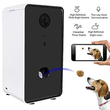 EMGOD Caméra Chien, Photo Pet Dog Treat Dispenser, Vision HD WiFi Nuit Grand Angle Caméra À Deux Voies Vocale Interactive Throw Snacks (Can Works avec Alexa)