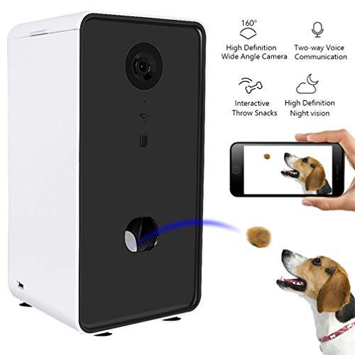 EMGOD Hund Kamera, Haustier-Kameras Dog Treat Dispenser, HD WiFi Nachtsicht Weitwinkel-Kamera Zwei-Wege-Sprach Interactive Werfen Snacks (Kann Works Mit Alexa)
