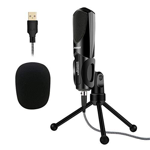 Micrófono PC, ELEGIANT Condensador USB Profesional Metal con Soporte Trípode para Podcast Studio Grabaciones para Ordenador para Skype Youtube Google Gaming Internet con Windows Mac