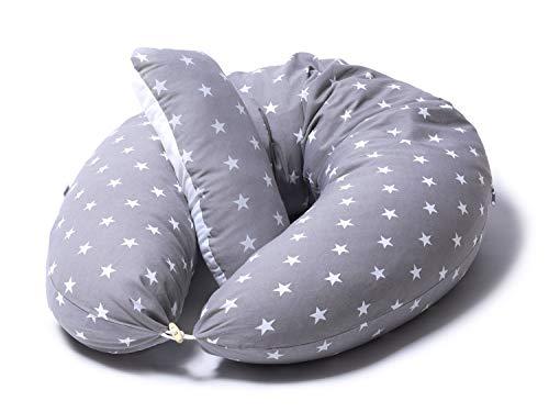 Niimo Almohada Embarazo y Cojin Lactancia Bebe + Soft Cojìn Dormir y Abrazar Funda Cojines 100% Algodon Desenfundable y Lavable (Gris-Estrella Blanca)