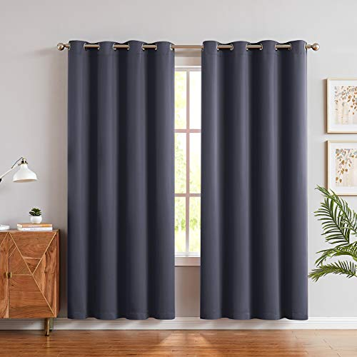 JUNFR Blackout Curtain Panels Window Draperies - Navy Blue, 52 x 63 inch, 2 Pieces, Insulating Room Darkening Blackout Drapes for Bedroom (Gray, 52Wx84L)