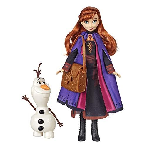 Disney Frozen - Bambola Anna con personaggio Olaf costruibile e zaino, ispirata al film Disney Frozen 2