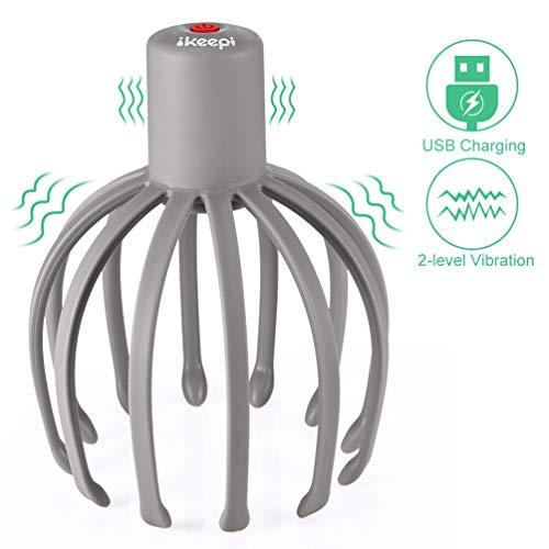 Masajeador eléctrico del cuero cabelludo, ikeepi dispositivo de masaje de cabeza con 12 dedos de masaje, aliviar el dolor de cabeza