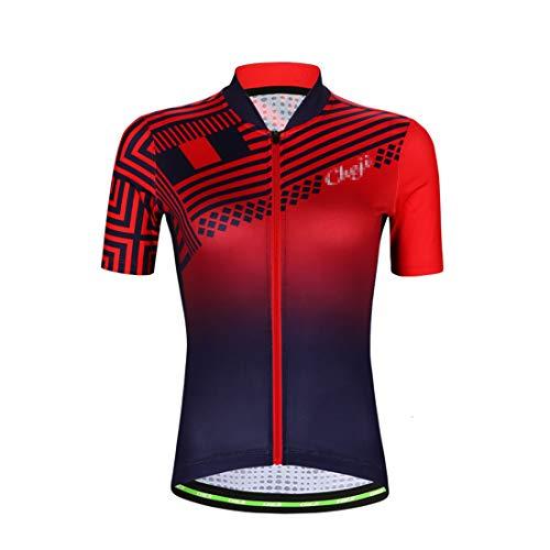 GWELL Damen Radtrikot Kurzarm Atmungsaktive Fahrradtrikot Fahrradbekleidung Trikot für MTB Radsport Rot-1 EU XS